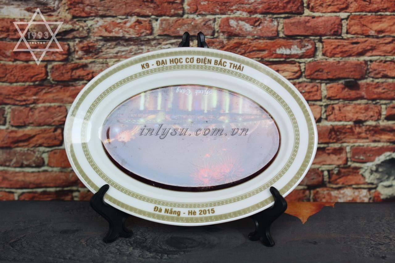 in đĩa sứ bầu dục Minh Long