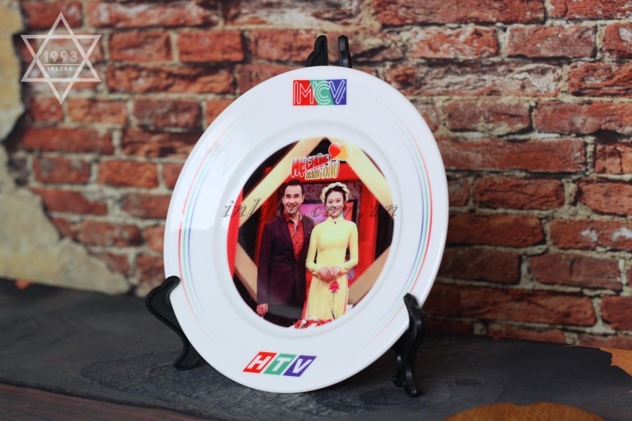 in đĩa sứ trắng Minh Long