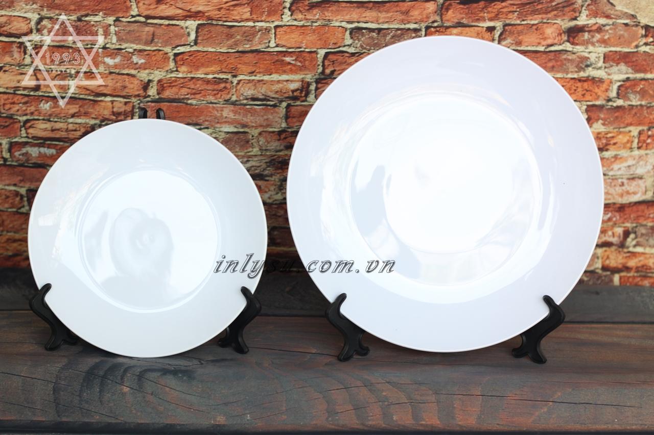 in đĩa sứ trắng
