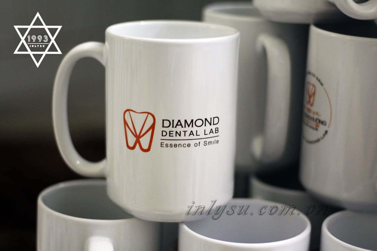 Ly sứ trắng trụ cao in logo DIAMOND