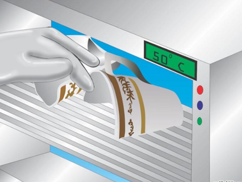 Đặt đồ gốm sứ vào lò vi sóng ở mức nhiệt 50 º C hoặc 122 º F và để trong 30 phút để làm khô vật dụng.